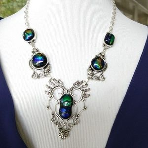 Art glass big and fancy necklace stamped 925